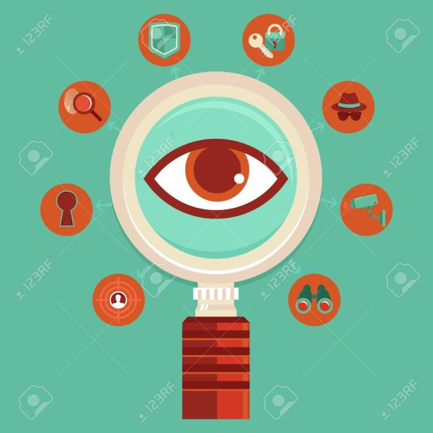 Vector surveillance and control concepts - big brother is watching - mass spying infographic design elements in flat style